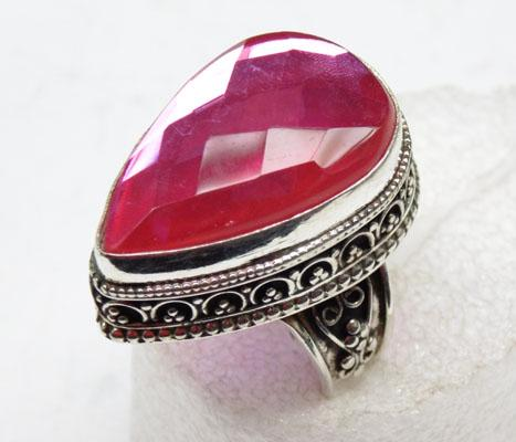 925 silver pink crystal ring