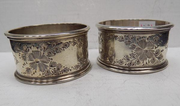 Pair of Victorian silver napkin rings