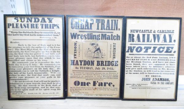 3 x framed railway notices