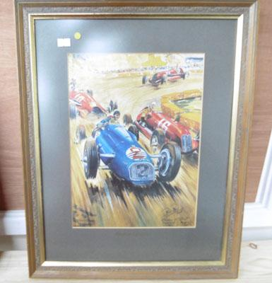 Framed 1948 motor racing picture