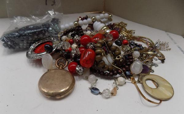Box of vintage jewellery & pocket watch