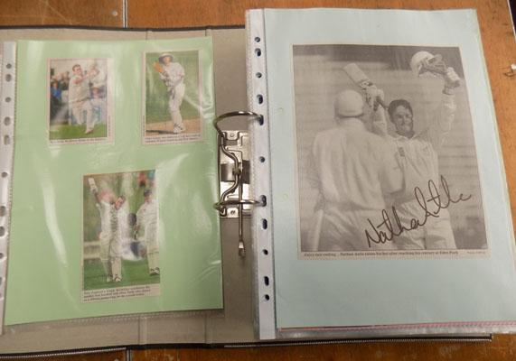 Selection of signed cricket paper clippings
