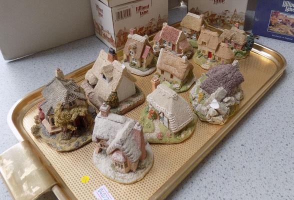 Tray of Lilliput Lane cottages