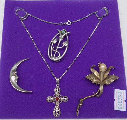3 silver brooches + silver cross  on chain