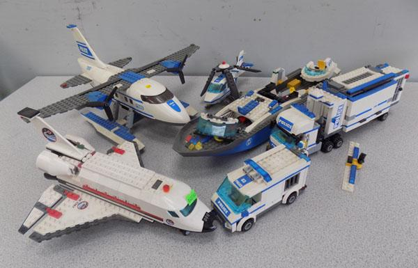 LEGO Police vehicles and space shuttle