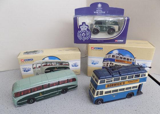 3 vintage style vehicles including Bradford Trolley bus
