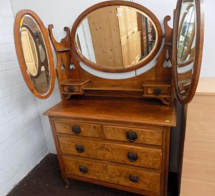 Walnut mirrored back dressing table