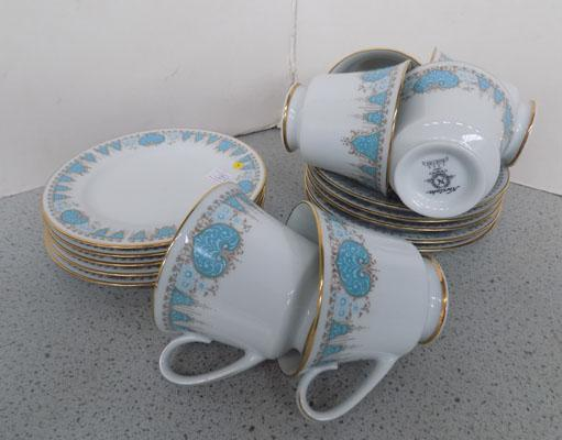 Noritake 'Blue tide' cups, saucers and side plate