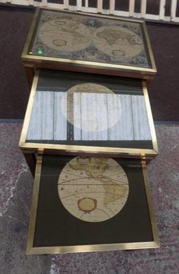 Set of 3 vintage Hendi Hondio tablets with maps. The two smallest tablets sit under the larger one, all with glass tops and each depict maps