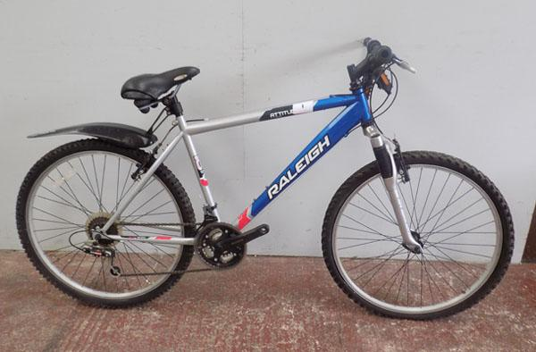 "Raleigh Attitude silver/blue 26"" hardtail 18 gears bike"