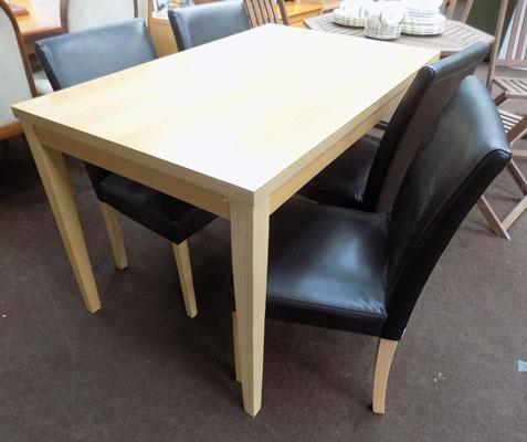 Light oak table + 4 chairs
