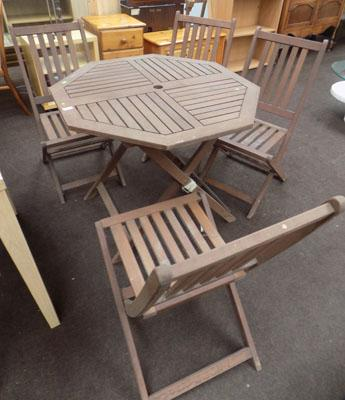 Wooden garden table + 4 chairs