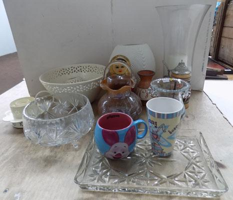 Mixed box of collectables including Russian doll