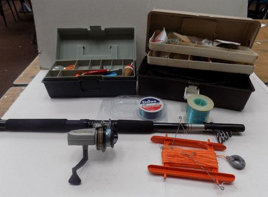 2 fishing boxes and contents and telescope, rod and reel