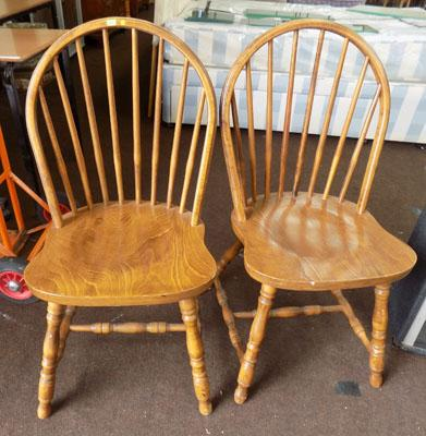 2 x spindle back chairs