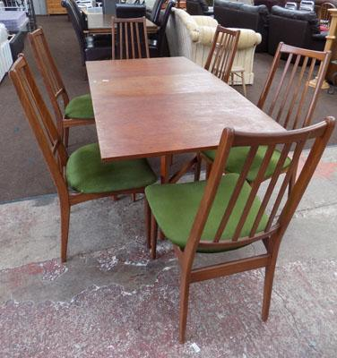 G-Plan drop leaf table + 6 chairs