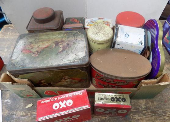 Box of miscellaneous tins