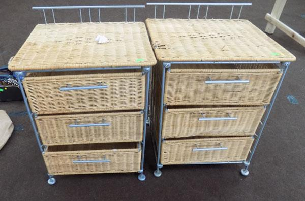 Matching pair of wicker bedroom draws