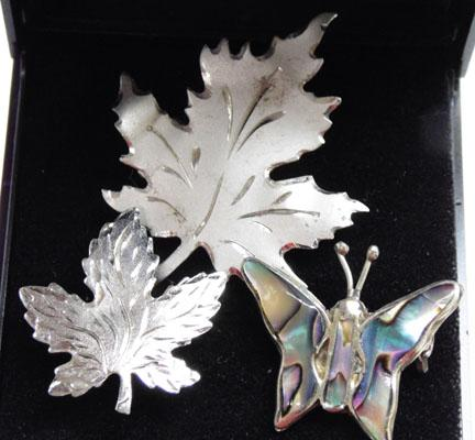 3 solid silver brooches - maple leaf/butterfly