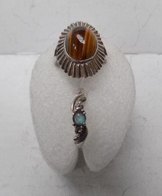 Silver tiger's eye ring + another silver ring