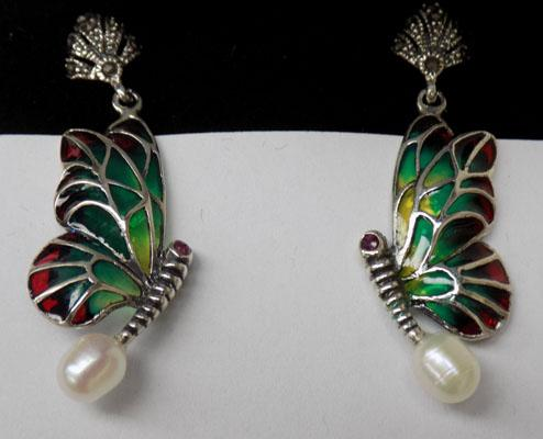 Pair of silver pearl + marcasite butterfly earrings