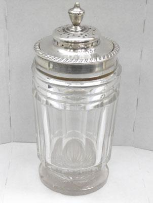 Rare Georgian silver and glass pounce pot/sugar shaker