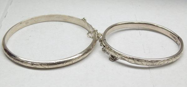 Charles Horner Chester silver bangle and another silver bangle