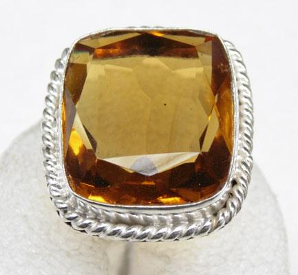 Solid silver golden topaz dress ring