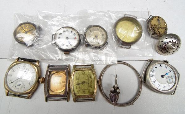 Bag of assorted silver + rolled gold watches + parts