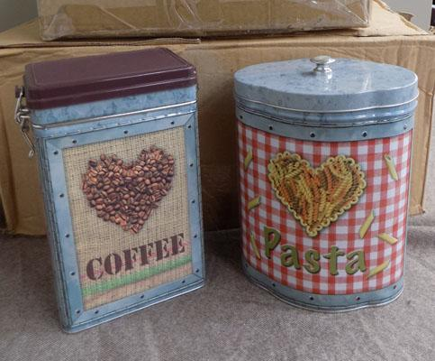 2 boxes of storage tins