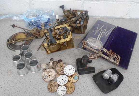 Box of watch and clock parts