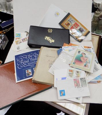 Box of stamp albums/postcards/first day covers