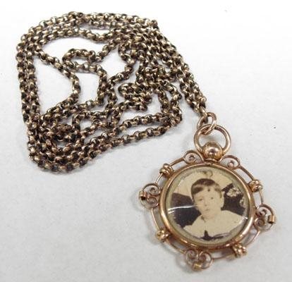 Victorian double photo locket pendant on Victorian chain