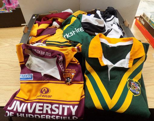 Box of genuine football and rugby shirts and shorts
