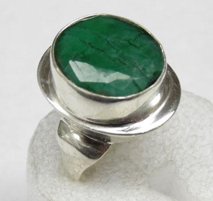 Solid silver large emerald ring
