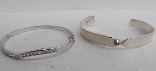 Assortment of silver bangles