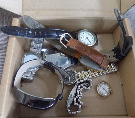 Small box of watches including gold with spares for repair