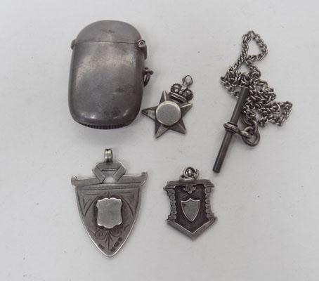 Collection of silver items including silver