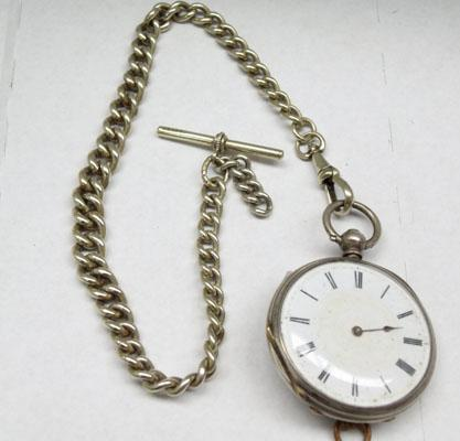 Fine silver fob watch on Victorian watch chain