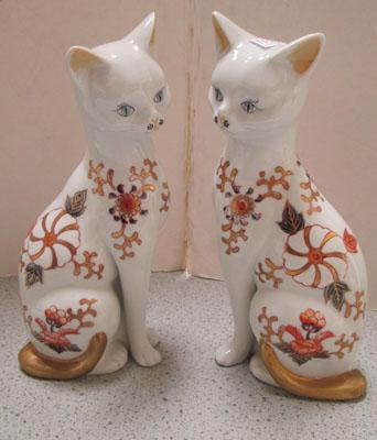 Pair of Aynsley type cats