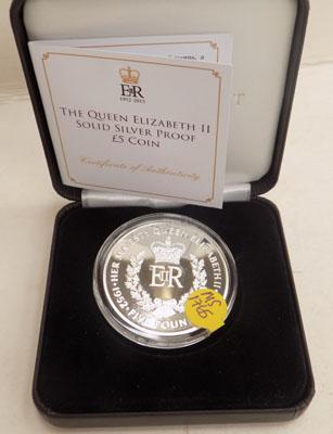 Silver proof boxed 2015 £5 crown with cert. of auth.