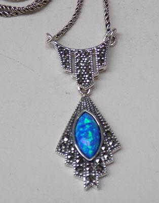 Art deco silver blue opal + marcasite necklace