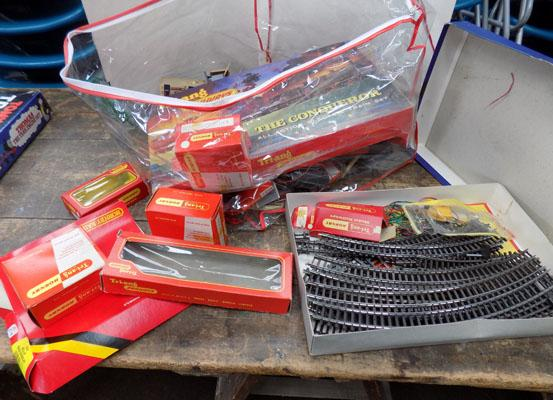 Box of mixed Hornby train items + empty boxes