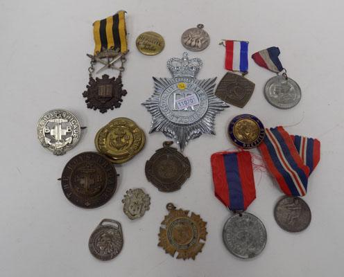 Collection of assorted badges and medals