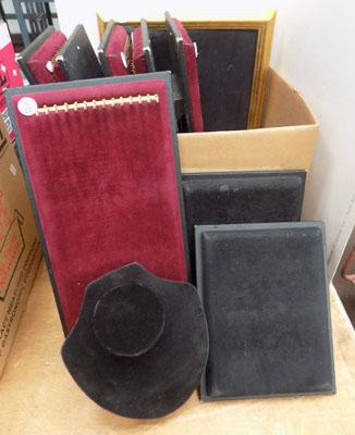 Box of assorted jewellery display boards