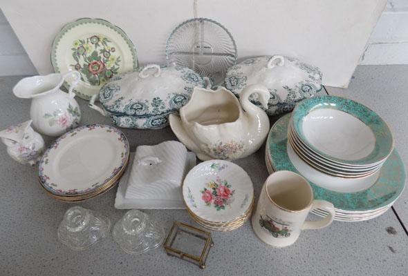 Mixed box of ceramics including Royal Albert + glass ware
