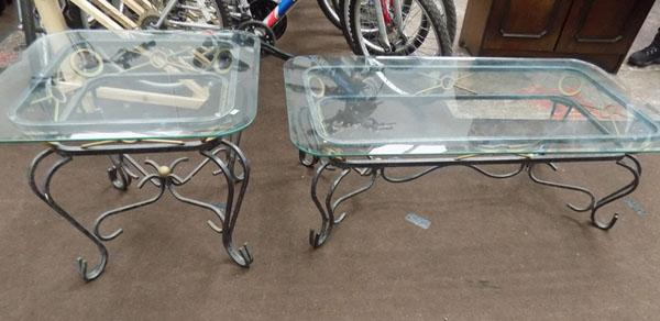 Pair of metal glass coffee tables