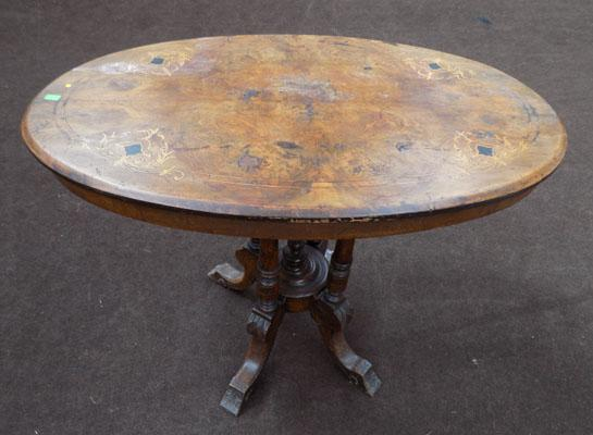 Veneered inlaid occasional table