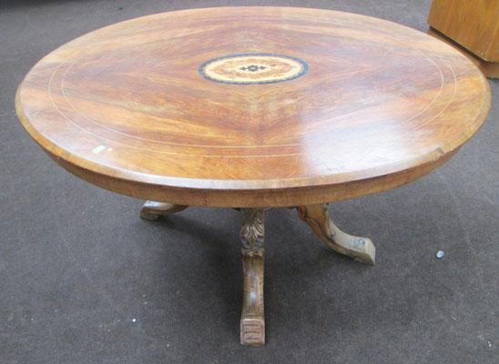 Oval inlaid tilt-top table
