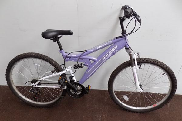 "Raleigh Mission purple 26"" full suspension 18 gears bike"
